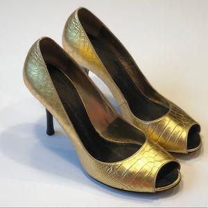 Giuseppe Zanotti Gold Embossed Peep Toe Pumps